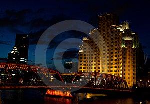 Night View Of Garden Bridge With Building Shanghai Stock Photo - Image: 17647230
