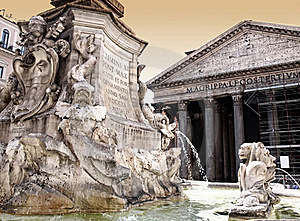 Pantheon With Fountain In Rome Stock Photos - Image: 17649863