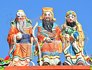 Three Chinese Gods Stock Photos - Image: 17650583