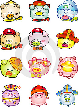 Cute Icon Chinese Pig Royalty Free Stock Image - Image: 17650646