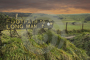 Footpath To Long Man Of Wilmington Stock Photography - Image: 17652352