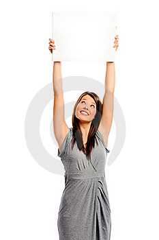 Pretty Girl Holding A White Board Royalty Free Stock Photos - Image: 17654358