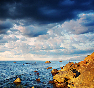 Summer Landscape With The Sea And The Cloudy Sky. Stock Image - Image: 17659791