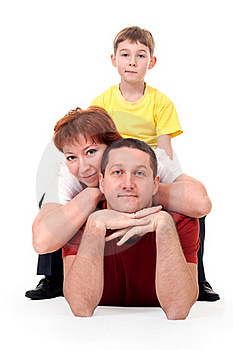 Family Of Three On The Floor Royalty Free Stock Image - Image: 17662976