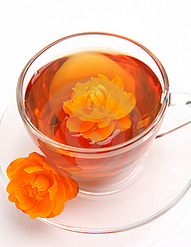 Cup With Tea And A Flower Stock Images - Image: 17668404