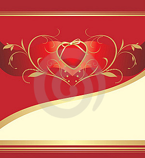 Red Heart With Floral Ornament. Valentines Card Royalty Free Stock Photos - Image: 17668758
