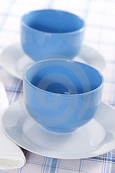 Two Empty Blue Plates For The Soup Royalty Free Stock Photo - Image: 17669655