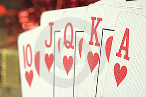 Straight Hearts Poker Hand Stock Image - Image: 17672731