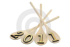 Number 2011 On Spoons Royalty Free Stock Photos - Image: 17677578