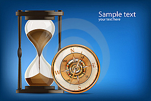 Compass With Hour Watch Royalty Free Stock Images - Image: 17678269
