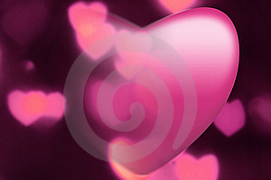 Pink Heart Fades Into Out-of-focus Hearts Stock Image - Image: 17682751