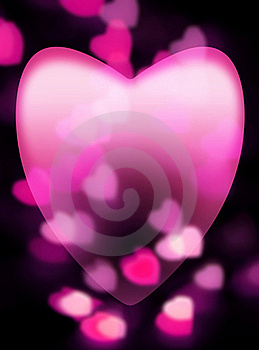 Pink Heart Fades Into Dark Background Stock Photo - Image: 17682790