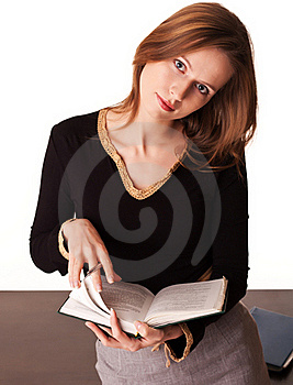 Young Teacher Trainee Leafs Textbook Royalty Free Stock Photo - Image: 17685985