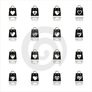 Valentine Shopping Bags Icons Stock Photos - Image: 17686243
