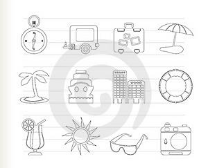 Travel, Holiday And Trip Icons Royalty Free Stock Photo - Image: 17687895