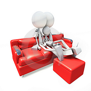 3D Family Watching Television From Sofa Stock Image - Image: 17689821