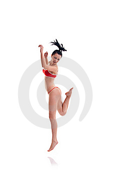Woman In A Jump Royalty Free Stock Photo - Image: 17692475