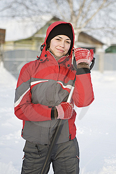 The Girl In A Red Jacket And Mittens Royalty Free Stock Images - Image: 17693309