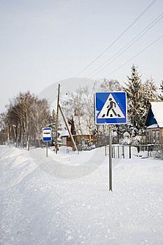 Pedestrian Crossing Traffic Sign On Winter Road Stock Photography - Image: 17693342