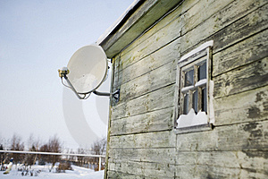 Satellite Plate On A House Wall Stock Image - Image: 17693381