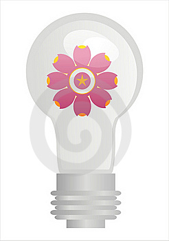 Eco Lamp With Flower Stock Image - Image: 17693941