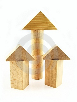 Wood color toy blocks Royalty Free Stock Image