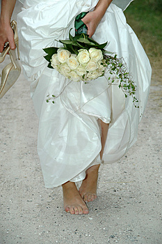Bride on the run Stock Photo