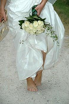 Bride on the run Stock Photo