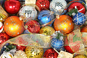 Christmas Ornaments Of Different Color And Gift Ribbons Royalty Free Stock Photos - Image: 1778128