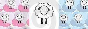 Sheep And Sheep Seamless Pattern Stock Photography - Image: 17701652
