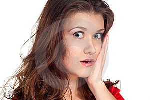 Close-up Of A Young Woman Looking Shocked Royalty Free Stock Photos - Image: 17716268