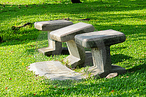 Stone Chairs Standing On The Garden Stock Images - Image: 17717084