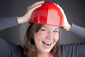 Young Architect Women Wearing Red Hardhat Stock Photos - Image: 17717383