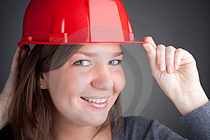 Young Architect Women Wearing Red Hardhat Royalty Free Stock Image - Image: 17717416