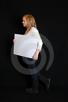 Woman With Blank Sign Royalty Free Stock Image - Image: 17719266