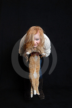 Cat And Woman Royalty Free Stock Photos - Image: 17720068