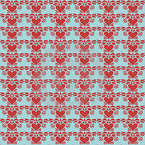 Blue And Red Folk Art Heart Repeat Pattern Stock Photography - Image: 17721592