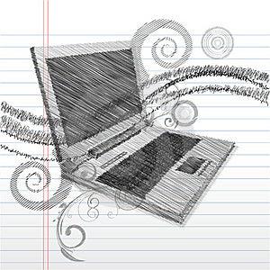 Sketchy Laptop Stock Photo - Image: 17721770
