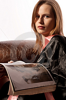 Young Woman Reading Magazine Before Sleep Royalty Free Stock Photography - Image: 17725417