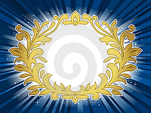 Golden Festive Wreath On Star Burst Background Royalty Free Stock Photos - Image: 17725528