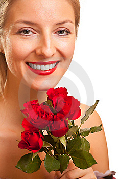 Beautiful Caucasian Woman With Red Roses Isolated Stock Photography - Image: 17728472