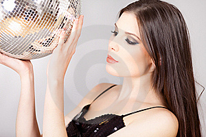 Portrait Of A Woman With Disco Ball Royalty Free Stock Photos - Image: 17731028