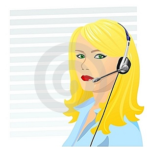 Vector Young Beautiful Girl Telephone Operator Stock Photo - Image: 17735240