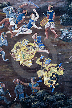 Art Thai Painting On Wall In Temple Royalty Free Stock Photography - Image: 17736347