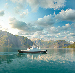 Ferry In The Fjord Stock Photo - Image: 17740430