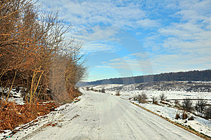 Snowy Road Near Frozen Forest Royalty Free Stock Photography - Image: 17740497
