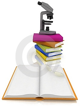 Books With A Microscope Stock Photography - Image: 17742662