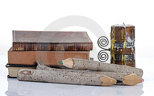 Vintage Books, Wooden Pencils And Candle Royalty Free Stock Photo - Image: 17744985