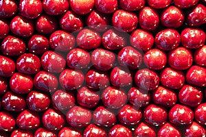 Fresh Cherries Are Stapled In Pattern Stock Photo - Image: 17745050