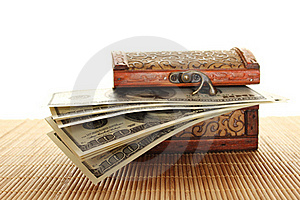 Chest Filled With One Hundred Dollar Bills Royalty Free Stock Photo - Image: 17745135